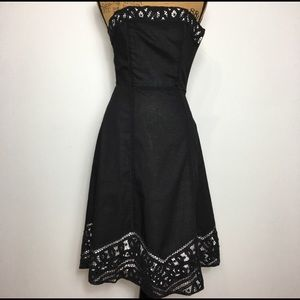 WHBM Strapless Embroidery Lace Black Dress Sz. 0